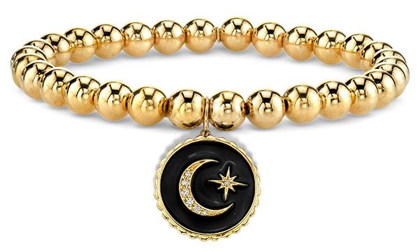Sydney Evan enamel moon beaded bracelet