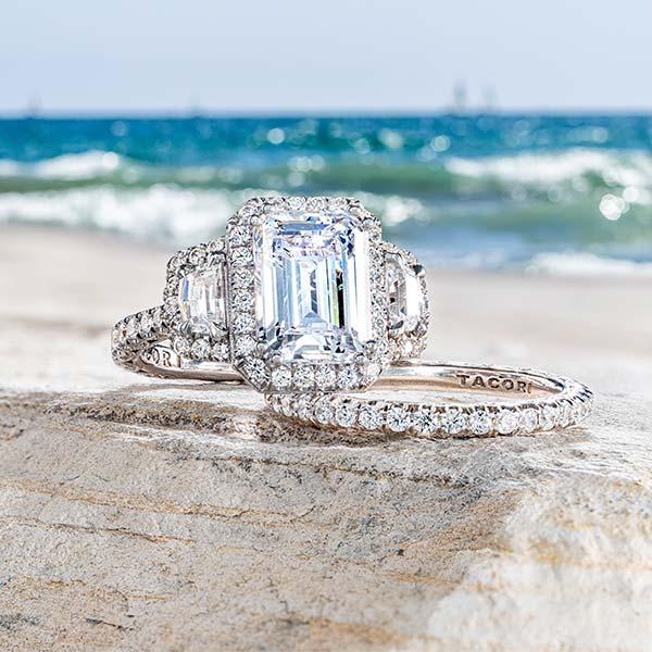 Tacori engagement set on beach