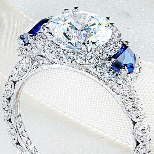 Tacori three stone ring with sapphires