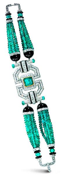 Umrao deco bracelet emeralds diamonds