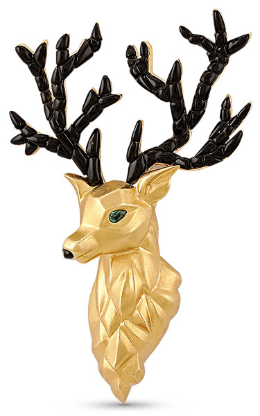 18 Carat House deer brooch with emerald eyes