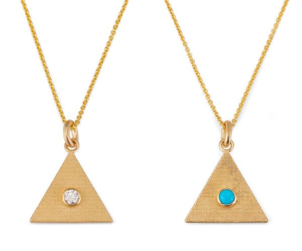 Alice Pierre sand triangle necklaces