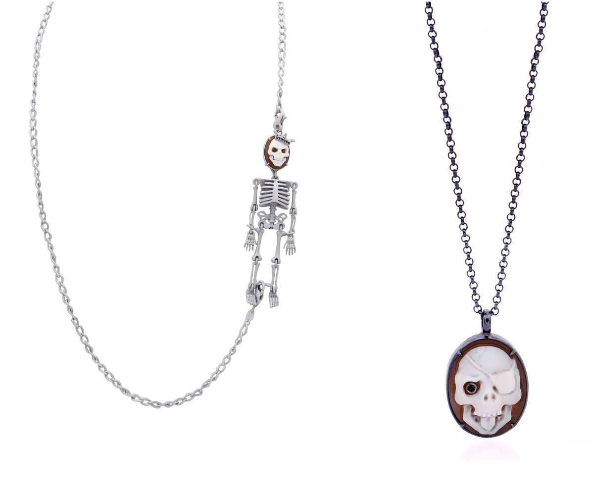 Amedeo skull cameo necklaces