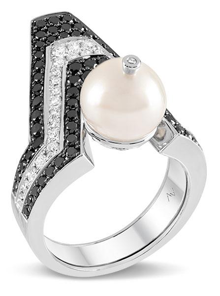 Ananya celeste pearl ring black white diamonds