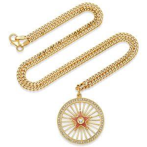 Andrea Fohrman pink enamel diamond starburst pendant