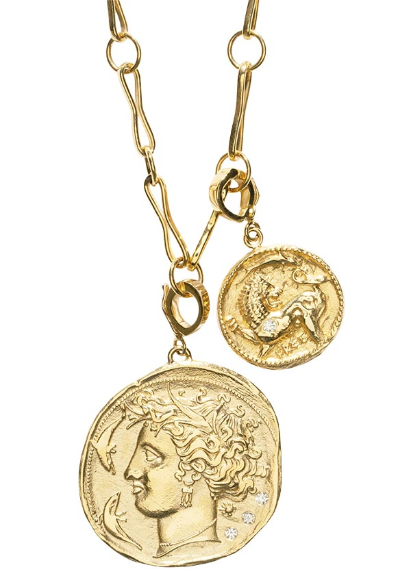 Azlee goddess coin pendant and animal kingdom charm
