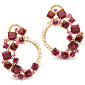 Bellarri pink sapphire rhodolite Lily earrings
