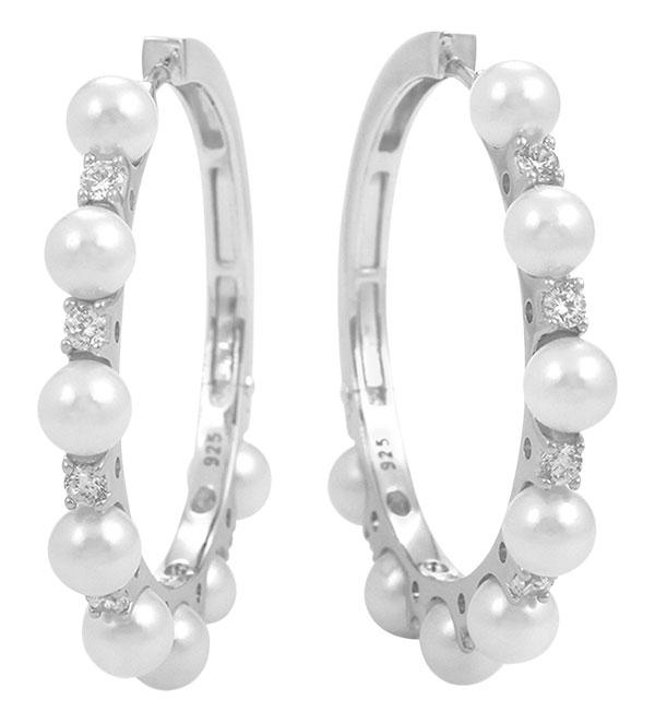 Belle Etoile seashell pearl CZ hoops