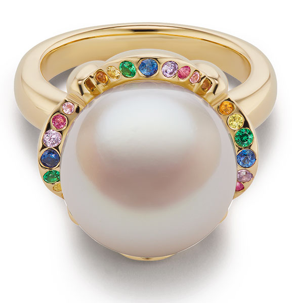 Brent Neale rainbow clamshell ring sapphire halo