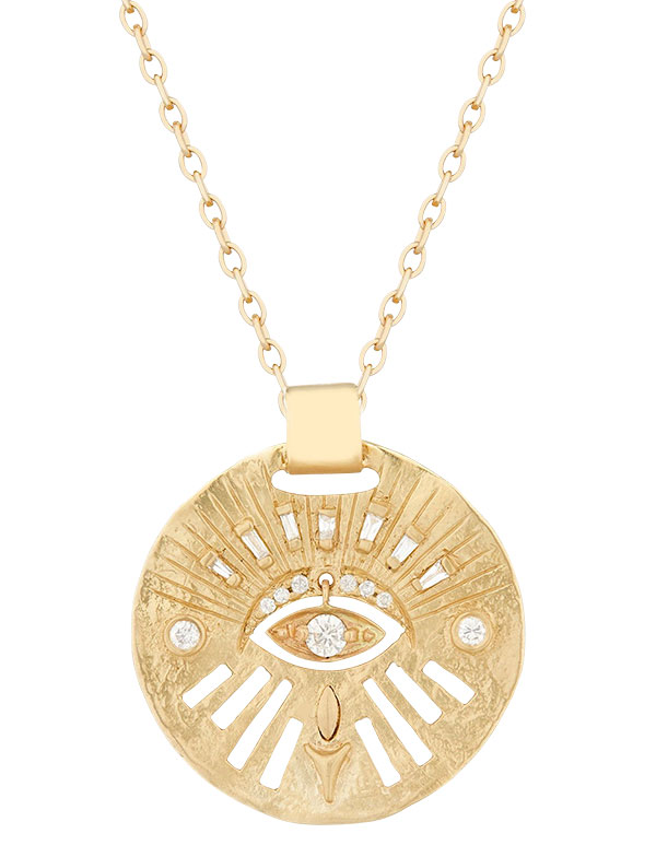 Celine Daoust gold medal and dangling eye necklace