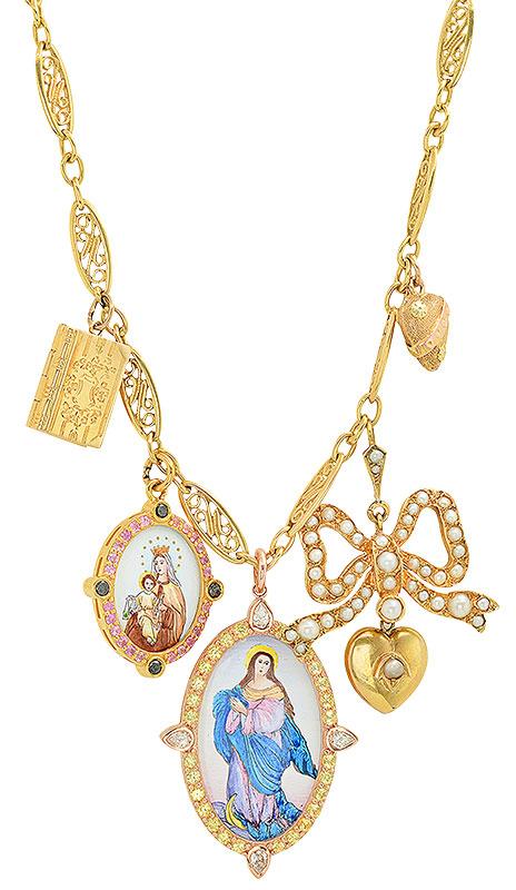 Colette bow and book necklace art nouveau edwardian charms