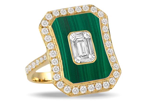 Doves malachite diamond ring