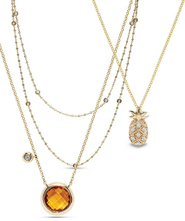 Effy layering diamond gemstone necklaces