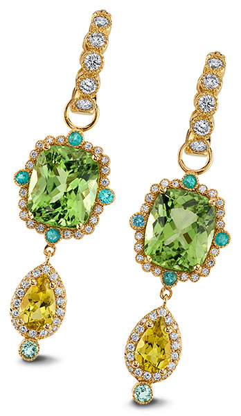 Erica Courtney Lily Pad peridot tourmaline earrings