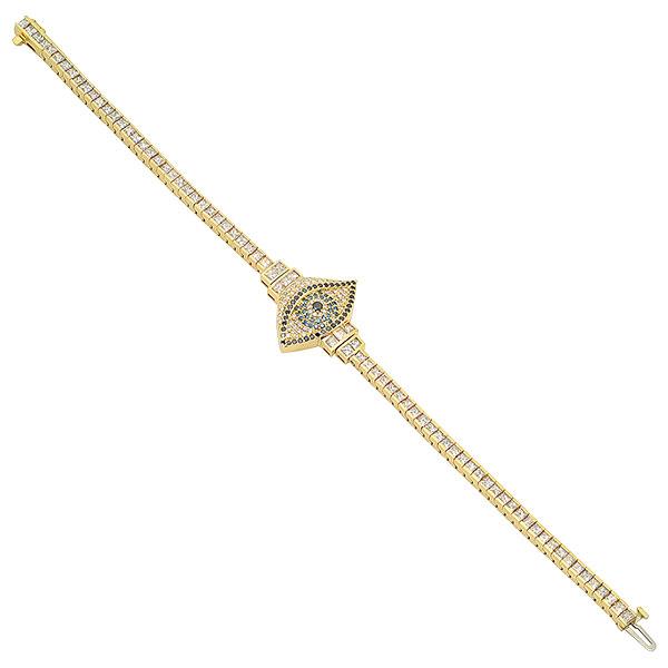 Established evil eye sapphire diamond bracelet