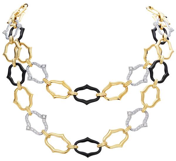 Gumuchian convertible secret garden gold black jade diamond necklace