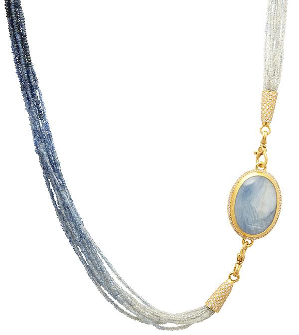 Gurhan luxe blue sapphire diamond beaded necklace