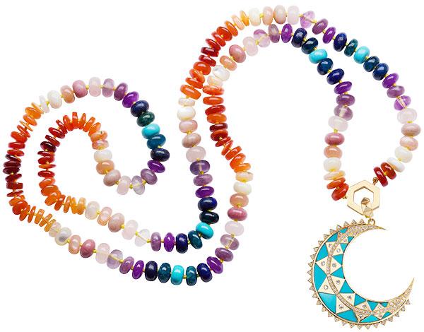 Harwell Godfrey major moon turquoise pendant fire opal sunset bead necklace