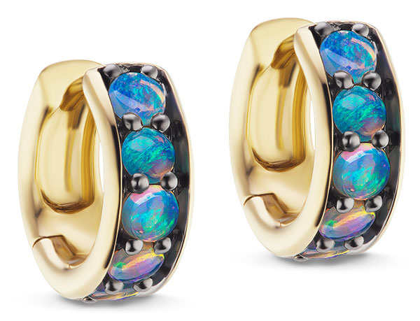 Jane Taylor cirque petite chubby crystal opal hoops