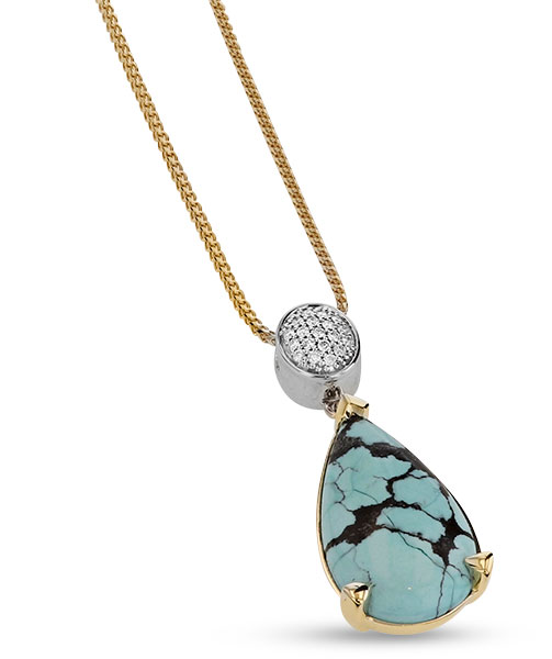 John Atencio bermuda turquoise diamond pendant