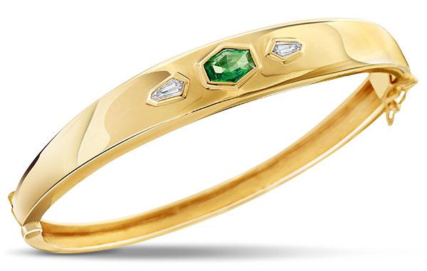 Just Jules emerald diamond vintage inspired bangle