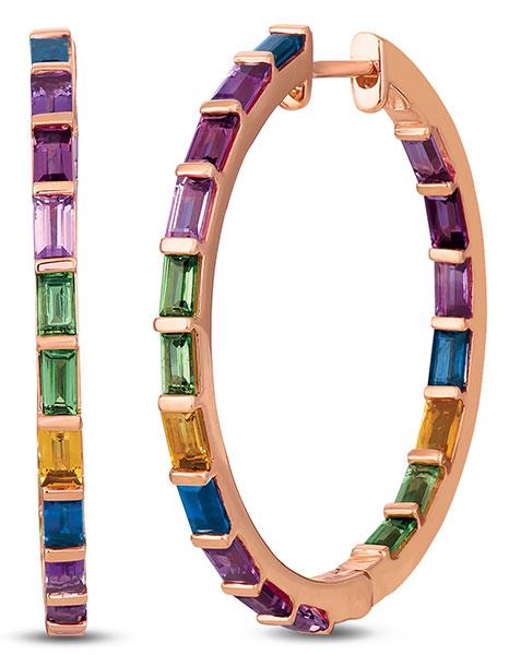 Le Vian hoop sweet gemstone earrings