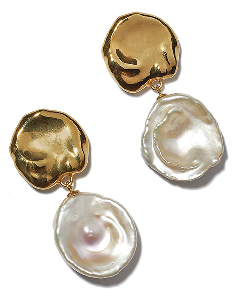 Lizzie Fortunato baroque pearl coin earrings