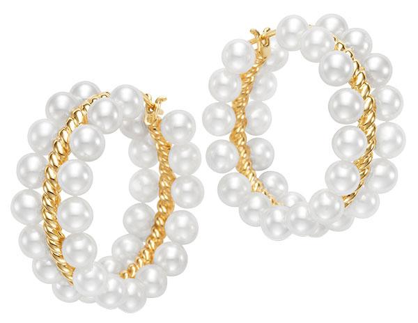 Mastoloni double row Decades hoop freshwater pearl earrings