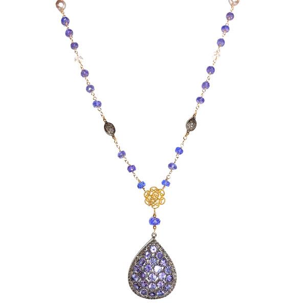 Melinda Lawton tanzanite and moonstone pendant