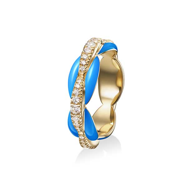 Melissa Kaye Ada ring in 18k yellow gold with diamonds and blue enamel