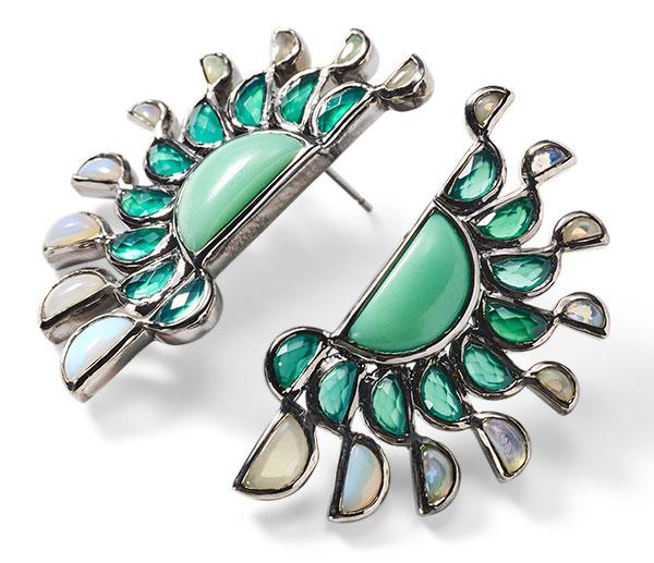 Nakard chrysoprase green opal earrings