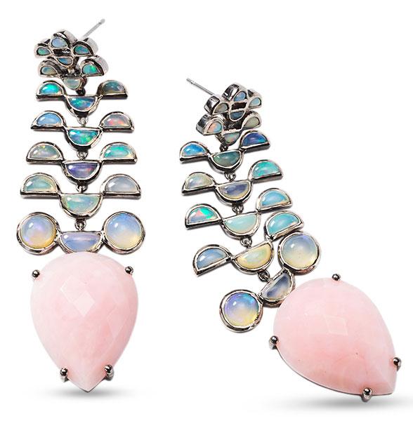 Nakard pink opal ethiopian opal earrings