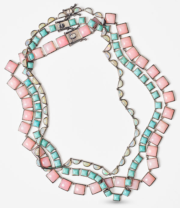 Nakard pink opal turquoise ethiopian opal riviere necklaces