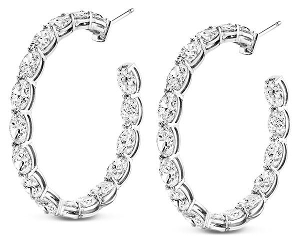 Norman Silverman oval cut diamond earrings