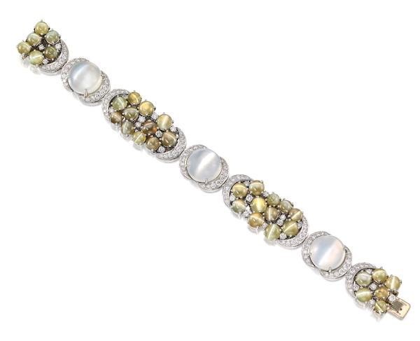 Oscar Heyman cats eye and moonstone bracelet