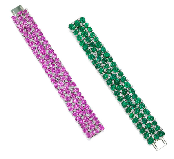 Oscar Heyman pink sapphire and emerald bracelets