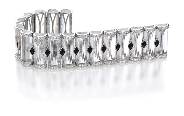 Oscar Heyman quartz crystal and black jade bracelet