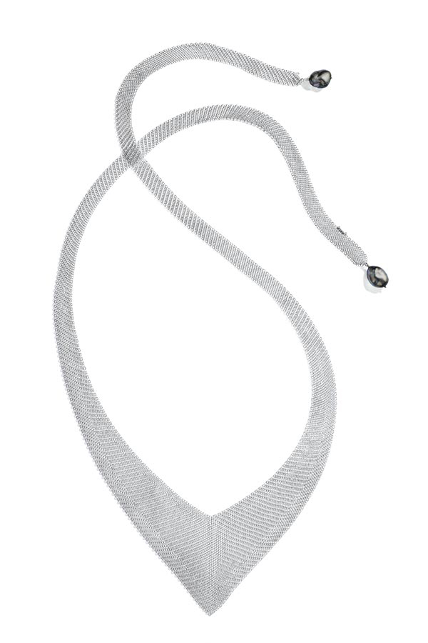 Peretti Mesh necklace keshi pearls