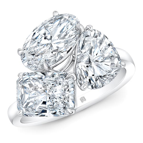 Rahaminov triple thread mixed cut diamond ring