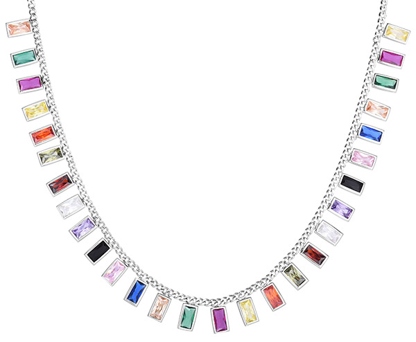Royal Chain rainbow CZ silver choker