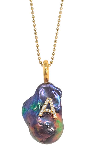 Rudy Blu peacock baroque pearl diamond initial pendant