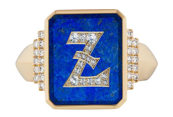 Sorellina signet ring in lapis diamonds