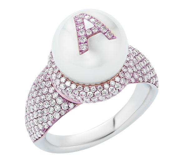W Rosado pearl ID ring diamond nanoceramic