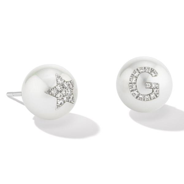 WRosado Pearl ID star earrings
