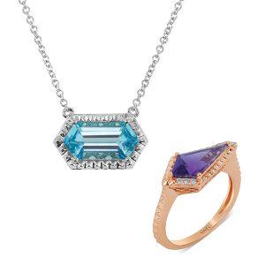 Yael borealis aquamarine pendant amethyst ring