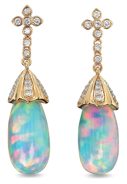 Yael briolette white opal earrings
