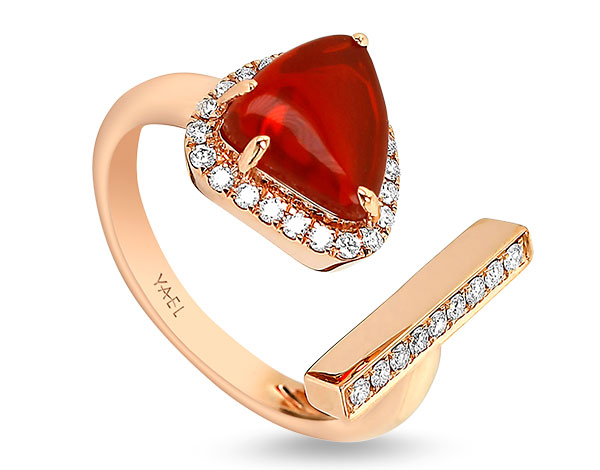 Yael fire opal toi and moi ring