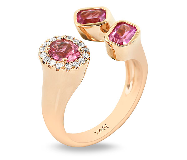 Yael pink sapphire toi and moi ring