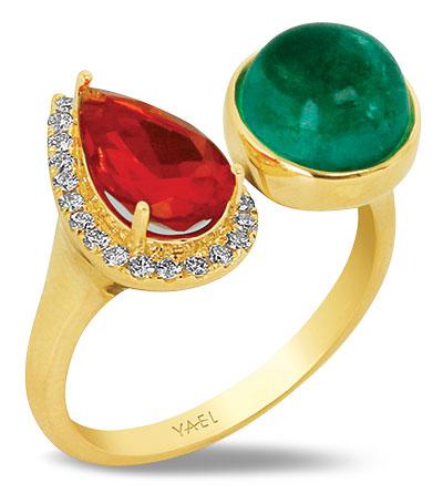 Yael toi et moi fire opal emerald ring
