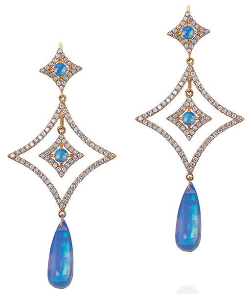 Yael diamond opal drop earrings